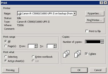 Excel 2003 Print Option