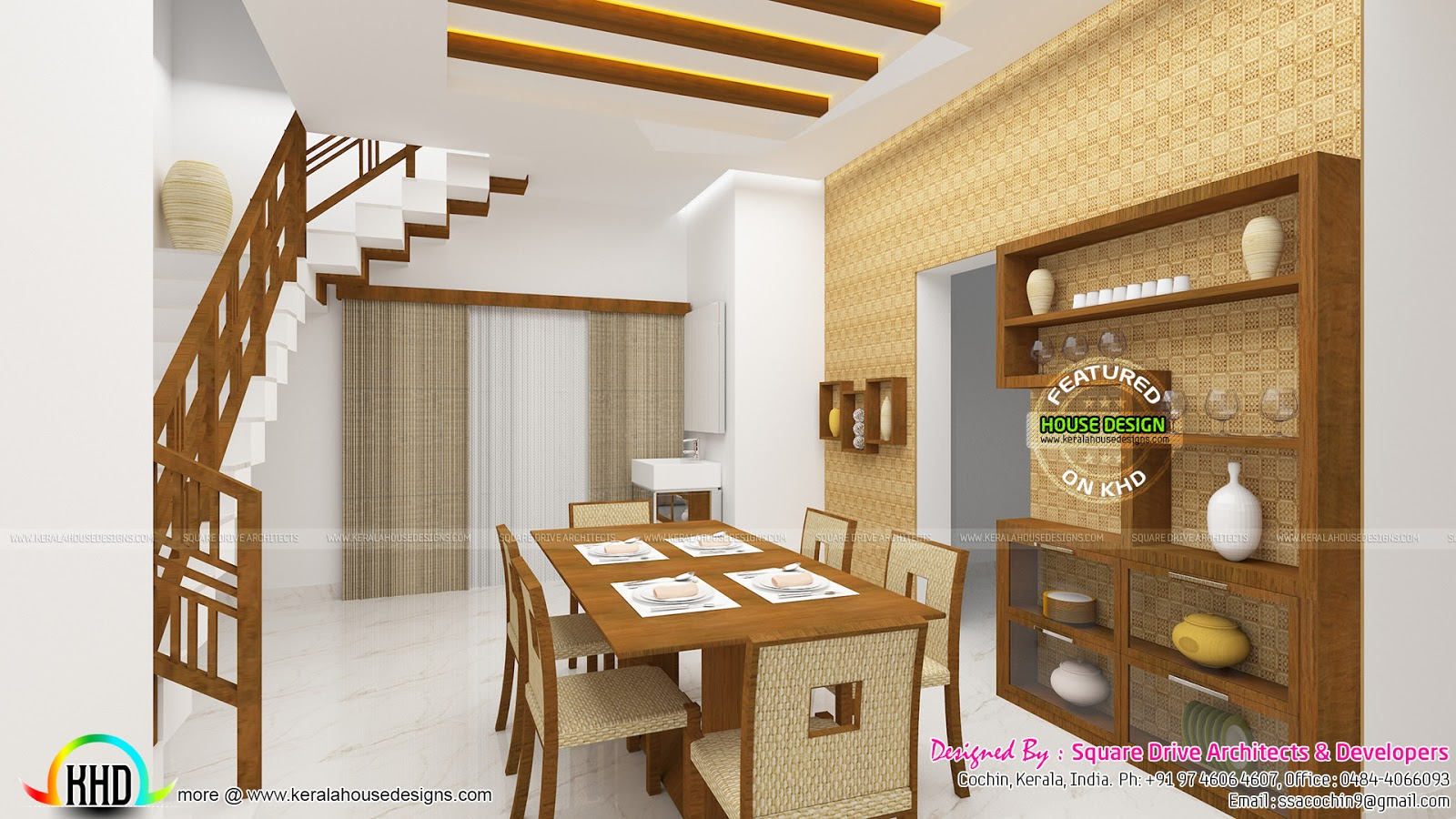 Dining, living bedroom interior designs  Kerala home design