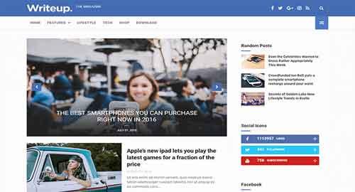 WriteUp News & Magazine Blogger Template