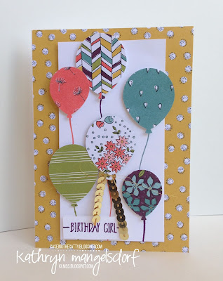 Stampin' Up! Balloon Builders, Hello Balloon Builder Punch, Birthday Card created by Kathryn Mangelsdorf