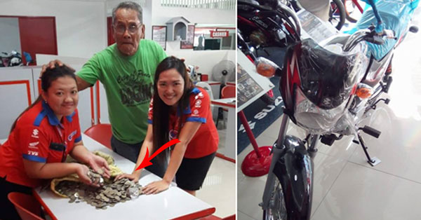 Man Saves 10-Peso Coins for 2 years and bought himself a Brand New Motorbike