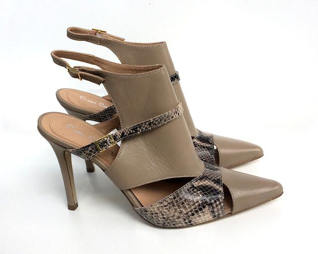 PIERRE CARDIN Sandales/Nu Pieds/Femme - Heels Laetitia - Taupe - Imprimé Python et Cuir