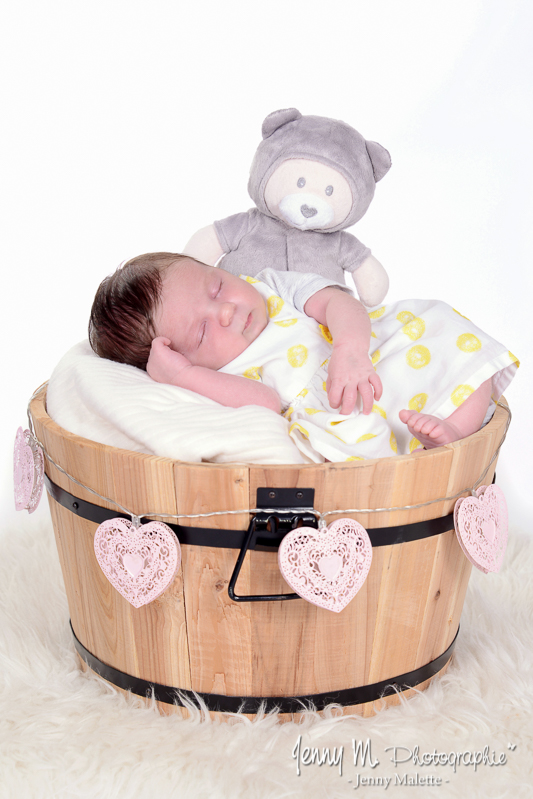 photo bébé dans seau vigneron en bois, bébé avec doudou et guirlande coeurs roses
