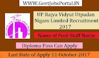 UP Rajya Vidyut Utpadan Nigam Limited Recruitment 2017– 05 Staff Nurse