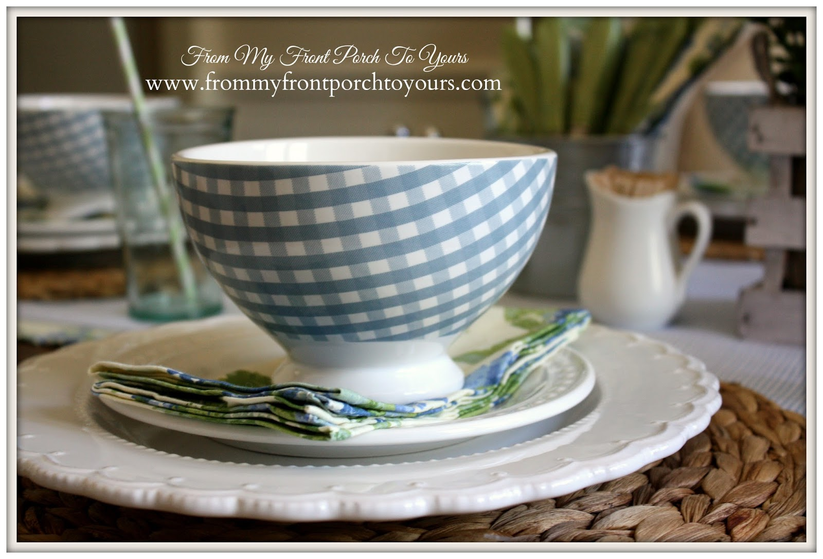 Blue gingham Cereal Bowls from HomeGoods.