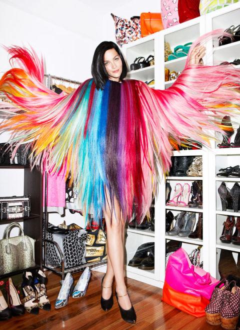 Leigh Lezark in her closet