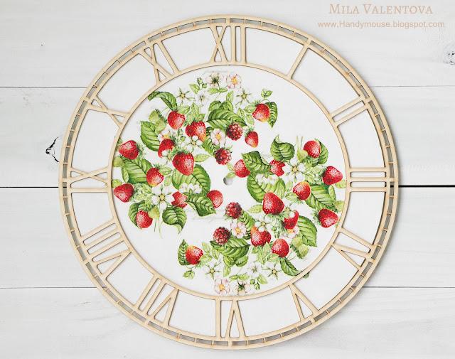 Свадебный-часы-настенные -земляника-Мила-Валентова-3