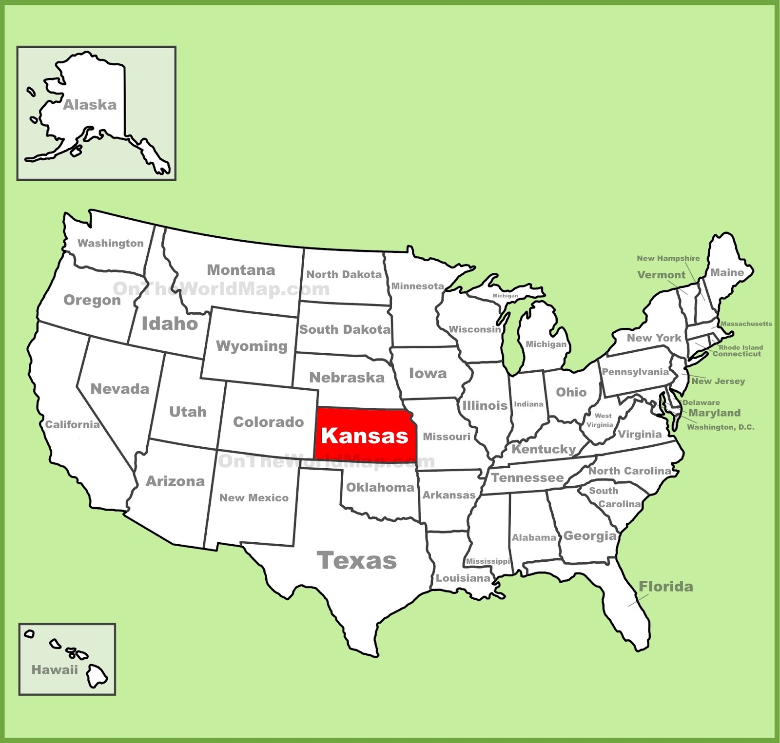 Map of Kansas State Map of USA