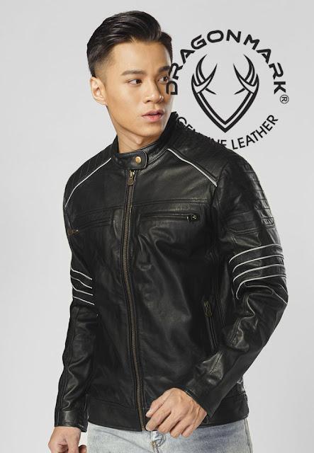 áo khoác da moto nam