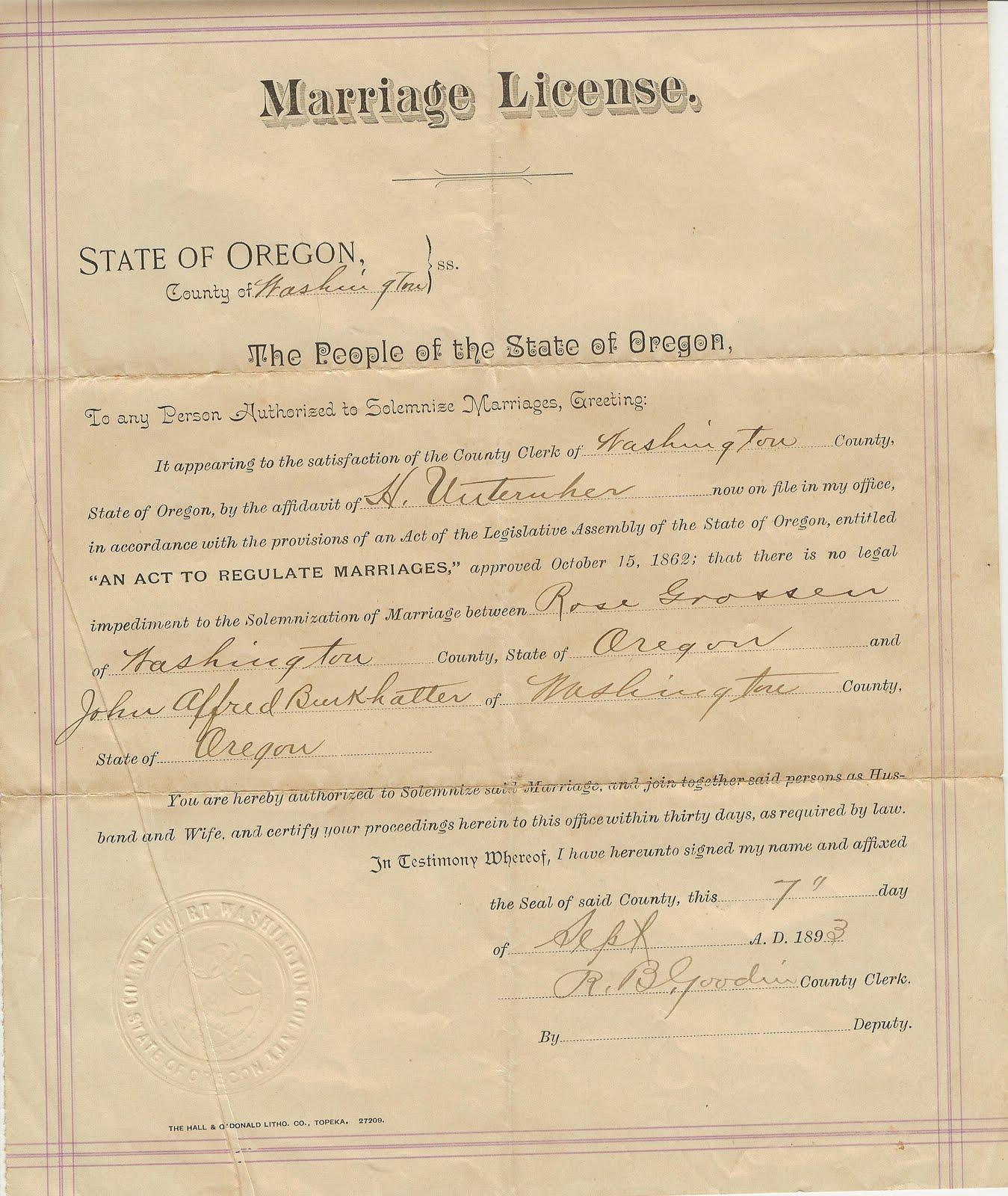 oregon marriage burkhalter tillamook rosa 1893 certificate meadow sleepy farm citizen resident became 1900 states april united alfred grossen john