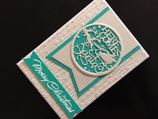 Hand Made Christmas Card with Die Cutting and Dry Embossing