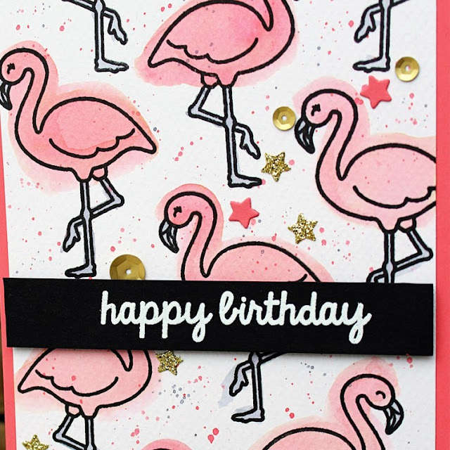 Sunny Studio Stamps: Tropical Paradise Watercolored Flamingo Birthday Card by Vanessa Menhorn.