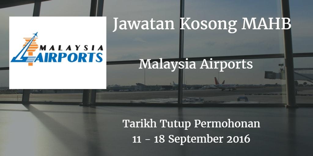 Jawatan Kosong MAHB 11 - 18 September 2016