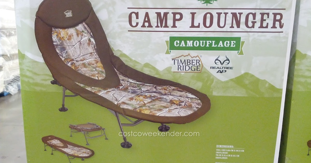 comfortable camping chairs chair covers hire sydney timber ridge camp lounger cot camouflage   costco weekender