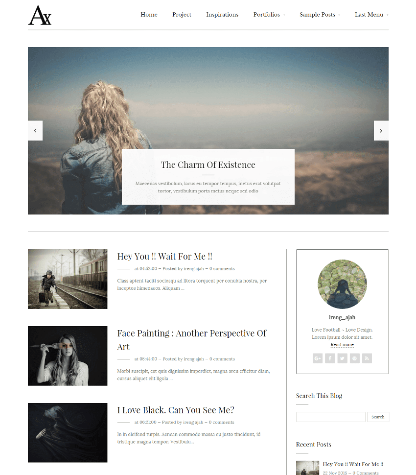 white template responsive blogger template