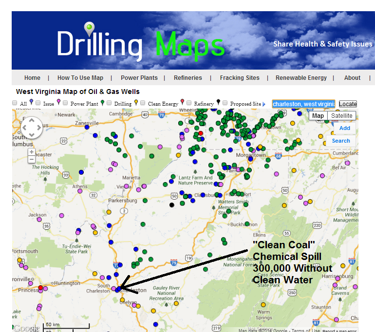 Map Of Charleston West Virginia Chemical Spill