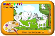 http://learnenglishkids.britishcouncil.org/en/archived-word-games/paint-it/zoo-animals