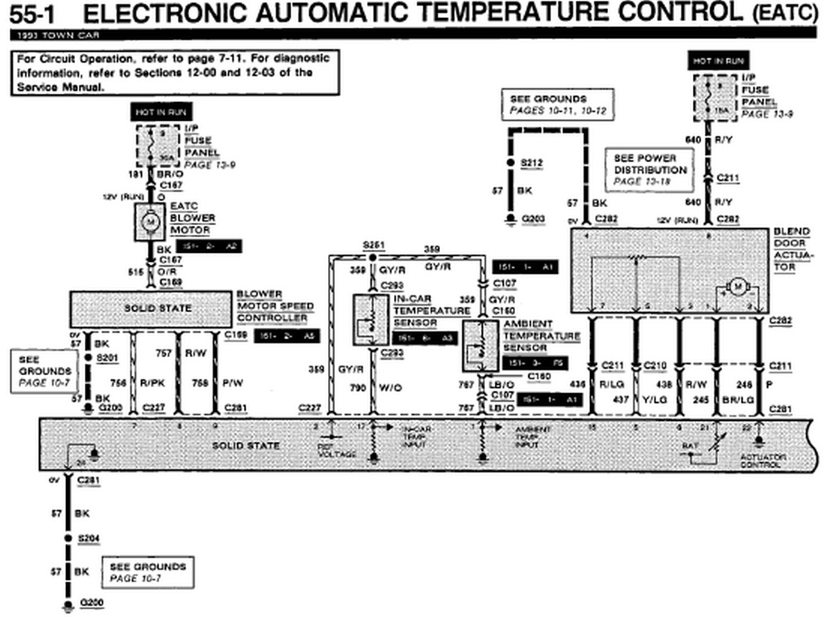 1993 Lincoln Town Car EATC Wiring DIagram | Auto Wiring
