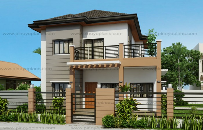marcelino four bedroom two storey house mhd 2016021 plan details floor plan code mhd 2016021 two storey house designs - Two Storey House Plans