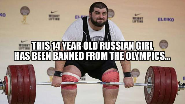 14 years old Russian girl banned from the Olympics.  STRENGTHFIGHTER.COM