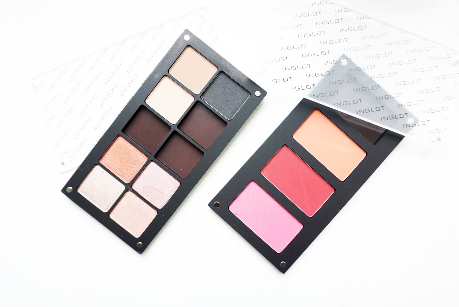 Inglot eyeshadows and blush swatches