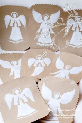 ангел красками на бумаге