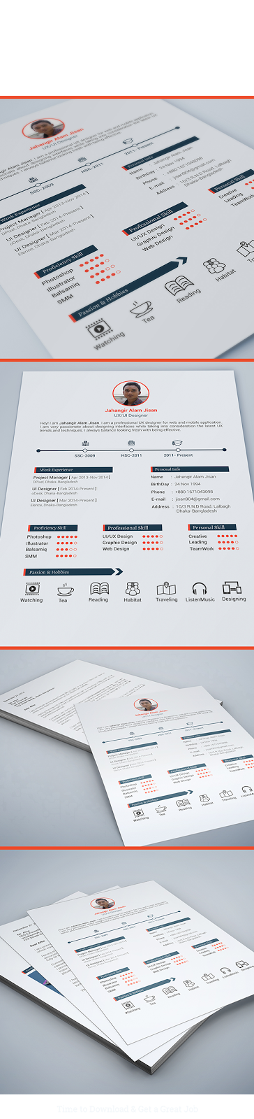 Free 3 Page Resume PSD Template