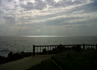 Pemandangan laut lepas di water blow