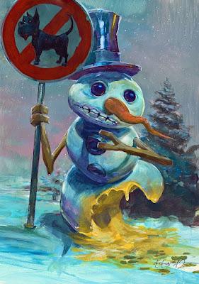 Witziger Schneemann Comic - Hund hat in Schnee gepinkelt - Hundeverbot lustig