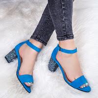 Sandale cu toc dama Piele albastru Vabitili