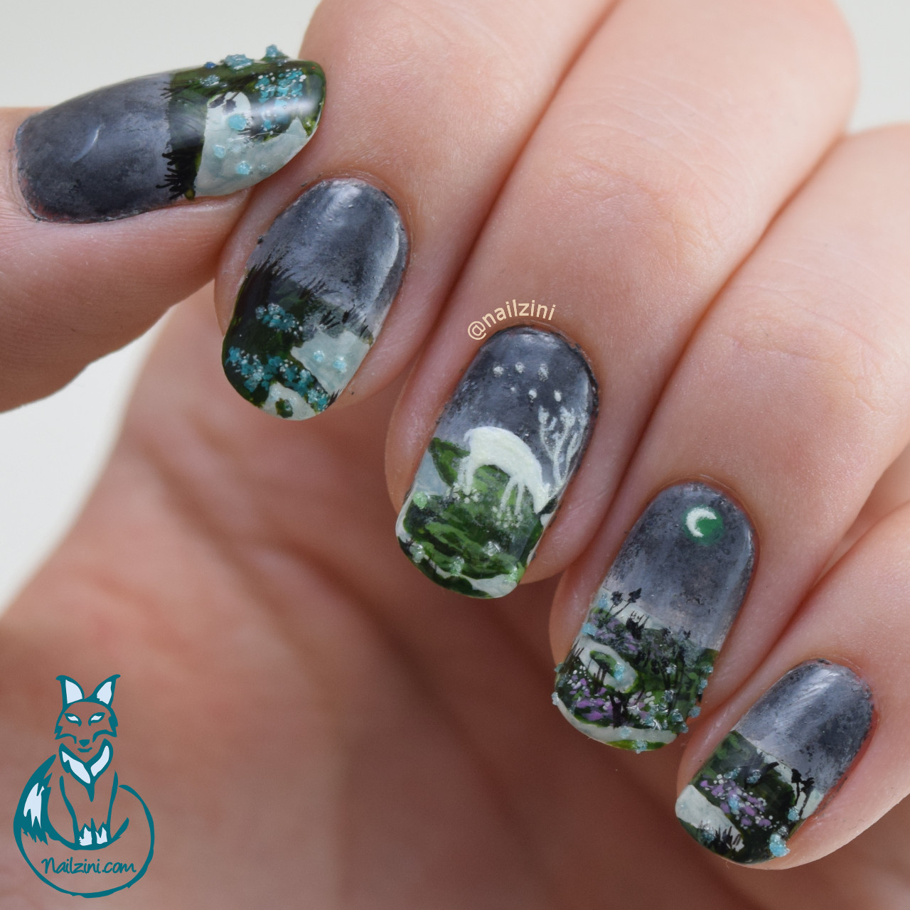 Moon Essence Glow in the Dark Nail Art