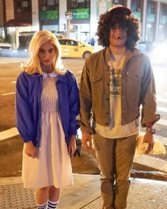 Anne and Erwan as 11 and Dustin of Stranger Things