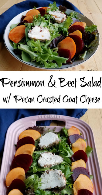 A fun sweet and savory salad with beets, persimmons, goat cheese and pecans lightly dressed in a homemade salad dressing. It is a perfect starter or a great lunch.