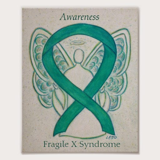 Fragile X Syndrome Awareness Teal Ribbon Guardian Angel Poster Art Prints