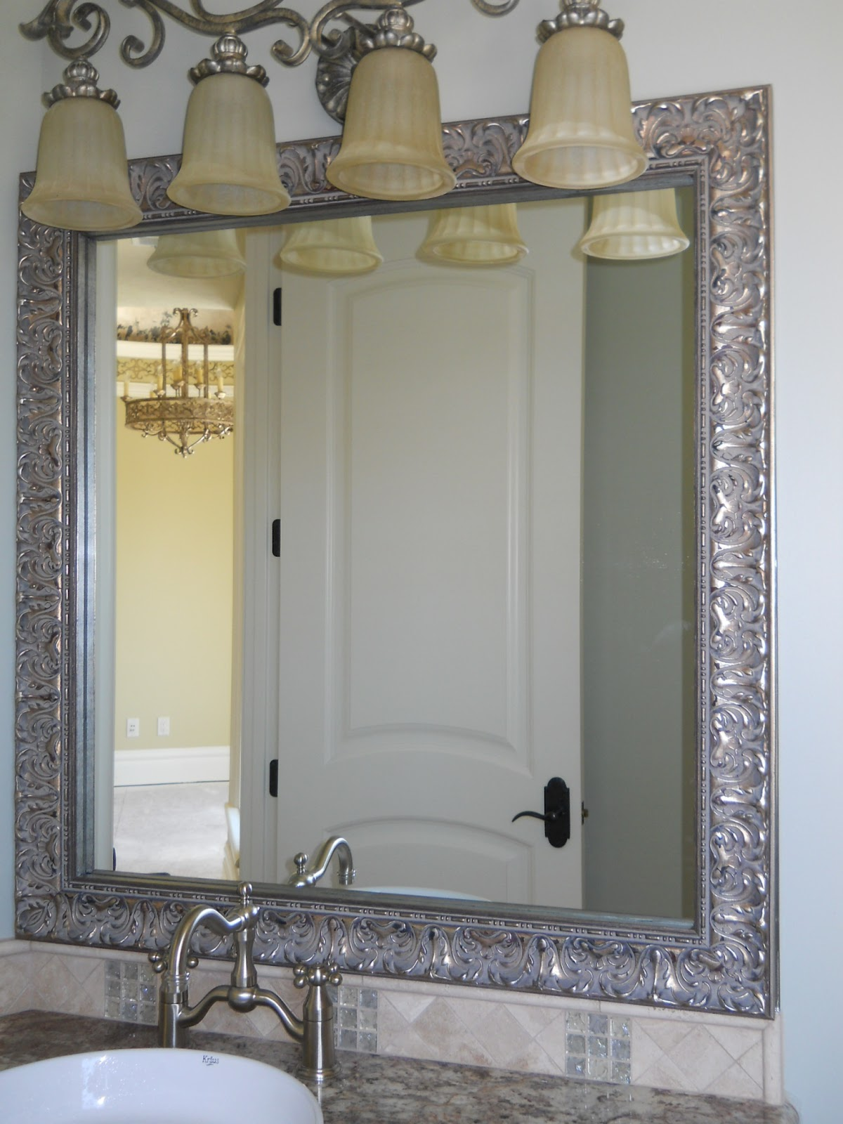 Framing A Large Bathroom Mirror Reflected Design Bathroom Mirror Frame Mirror Frame Kit