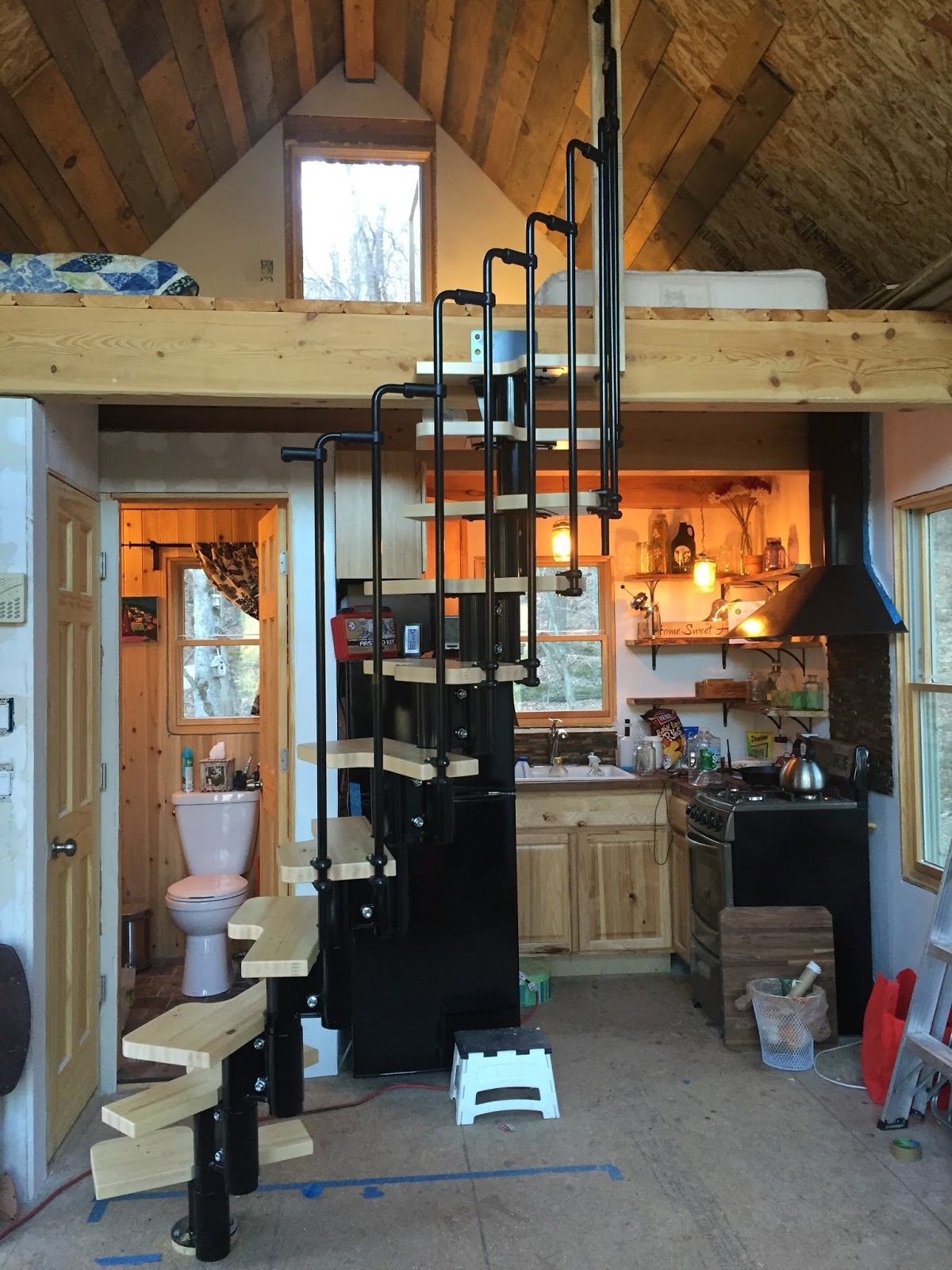 Tiny House Spiral Staircase Done