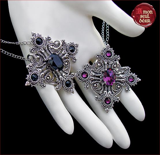 collier croix gothique victorien violet amethyste noir onyx bijoux gothiques
