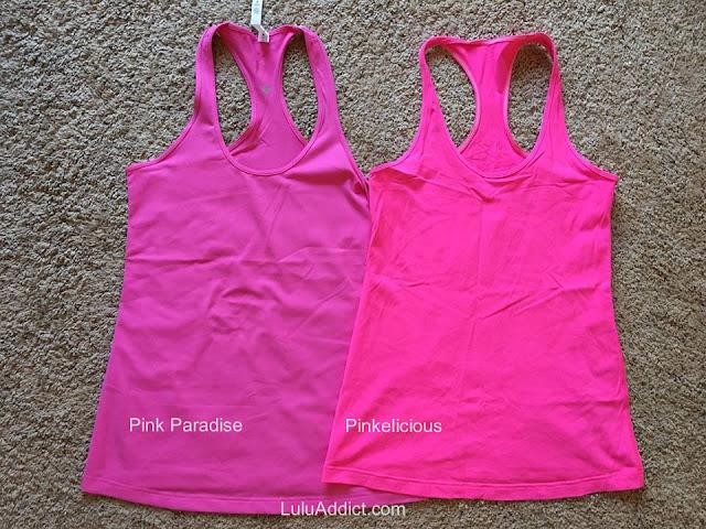 lululemon color-comparison pink-paradise-pinkelicious