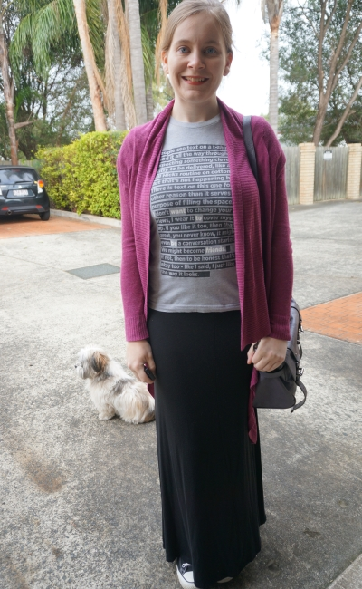 Threadless graphic tee, maxi skirt and cardigan. Winter SAHM style | Away From Blue