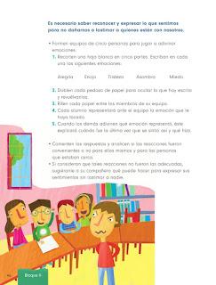 Apoyo Primaria Formación Cívica y Ética 1er grado Bloque 2 Lección 1 Compartir sentimientos y emociones