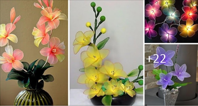 Arranjos de flores com meias de nylon e luzes coloridas