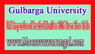 Gulbarga University U.G Preparation of Practical Nov/Dec 2016 Exam Time Table
