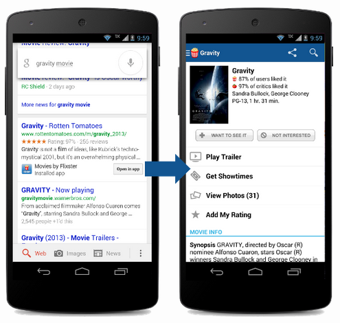 Google in app indexing