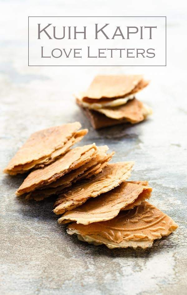 Love letters or Kuih kapit is a traditional Chinese New Year thin crispy crêpe like biscuits.  Its best eaten after it has completely cool down.