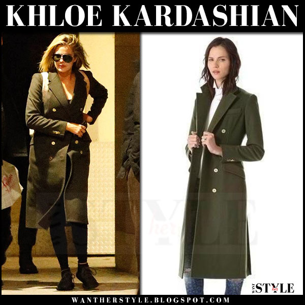 Khloe Kardashian in dark green double breasted wool coat balmain what she wore winter style