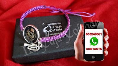pulsera cofrade personalizable para musicos y bandas de cofradias de semana santa como la banda de cornetas y tambores, banda de cctt tres caidas de triana, es una pulsera cofrade hecha artesanalmente en sevilla