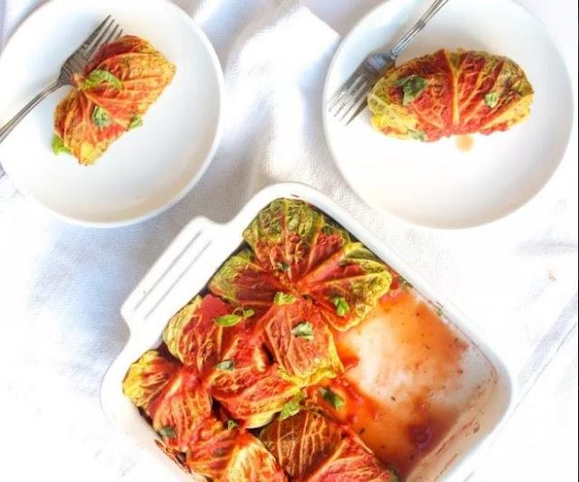 Cabbage Rolls with Wild Rice Mushroom Stuffing #vegan #meatless