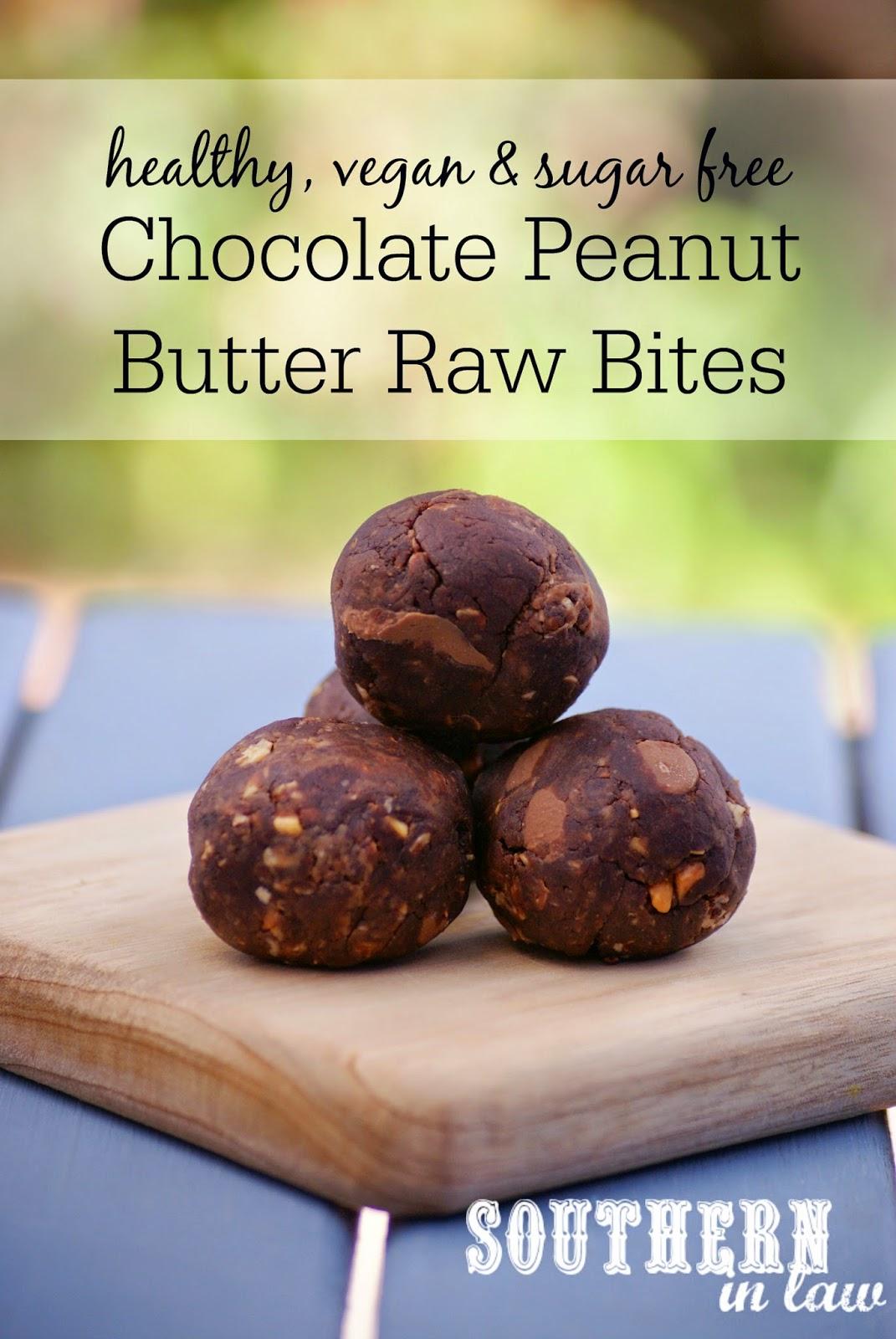 Healthy Raw Vegan Peanut Butter Chocolate Raw Brownie Bites Recipe - gluten free, sugar free