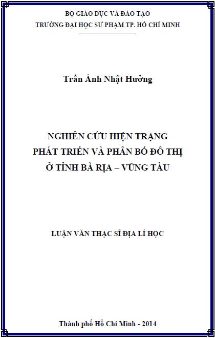 Nghiên cứu hiện trạng phát triển và phân bố đô thị ở tỉnh Bà Rịa – Vũng Tàu