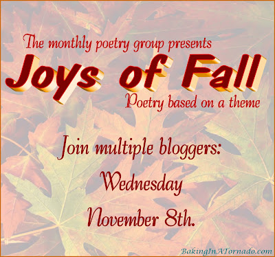 Monthly Poetry Group, poems based on a theme. This month's theme is Joys of Fall | Featured on www.BakingInATornado.com | #poem #poetry